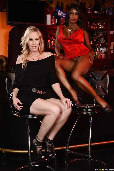 Busty interracial MILFs Diamond Jackson and Simone Sonay spreading