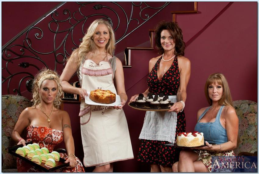 Four tempting MILF hotties in high heels showing off their