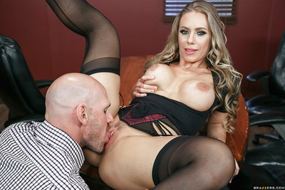 Blonde pornstar Nicole Aniston giving bj in nylons, garters and petticoat