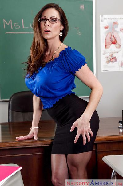 Leggy brunette schoolteacher Kendra Lust flashing leg and panty upskirt