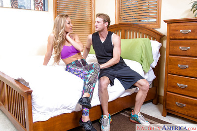 Rounded blond coed Nicole Aniston riding cock for cumshot on bra buddies