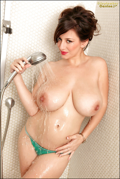 September Carrino takes a damp bath and washes her hairy gentile
