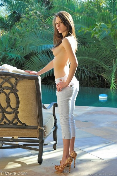 Nice-looking young makes known her constricted a-hole body at resort