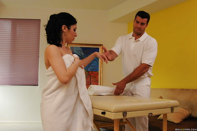 Oiled up latina chicito enjoys oily bodily massage and hardcore twatting