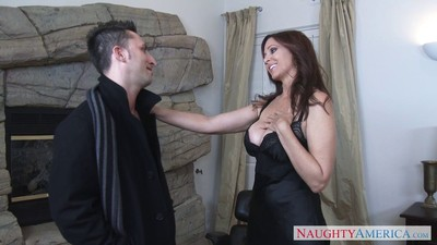 Busty milf julia ann likes steamy sex as a dark brown likewise