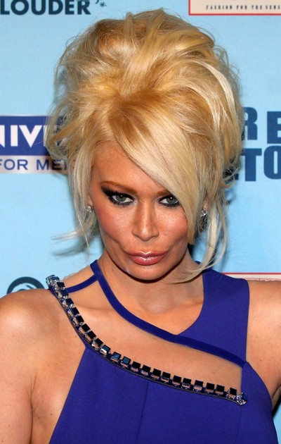 Jenna jameson flashing her shorts in long blue dress paparazzi pictures
