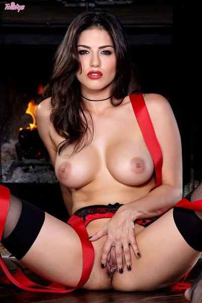 Sunny leone in lingerie and stockings as your christmas present
