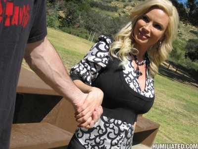 Boobsy golden-haired milf gets attached teased and fucked