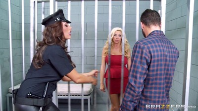 Ava koxxx and summer brielle sharing a well hung dude in jail