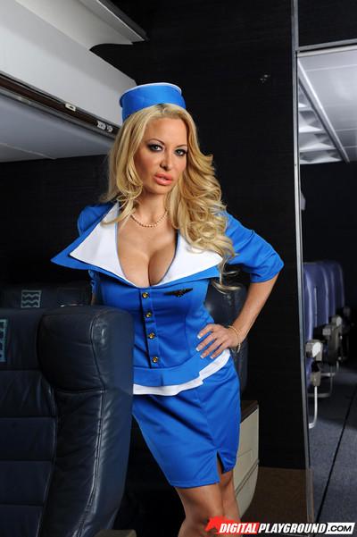 Naughty stewardess helly mae hellfire sleeps with her passenger