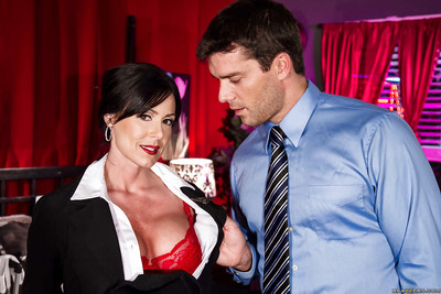 Dark hair milf with mammoth wobblers Kendra Lust spreads ball batter on her wobblers