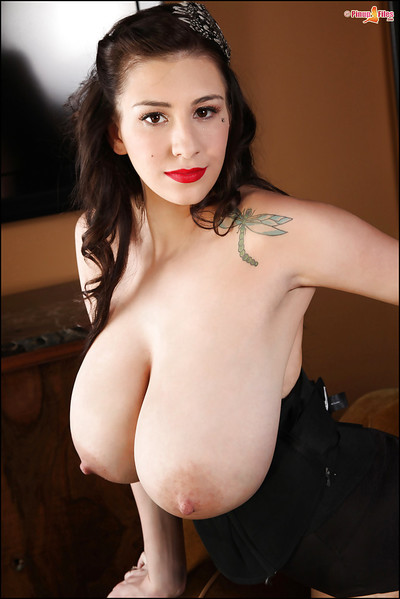 Beauteous brunette gets undressed and demonstrates her mammoth boobs