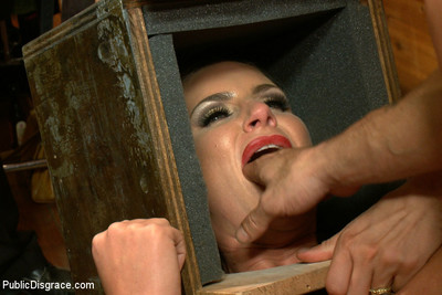Boobsy cunt in sensory deprivation head box, fisted and banged in asshole