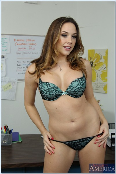 Seductive babe on high heels Chanel Preston stripping in the office