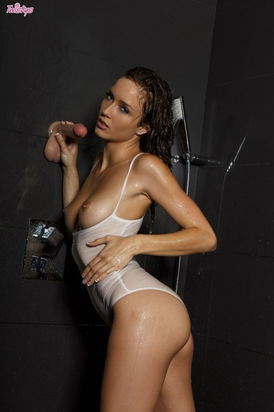 Malena morgan practices with three dildos in shower