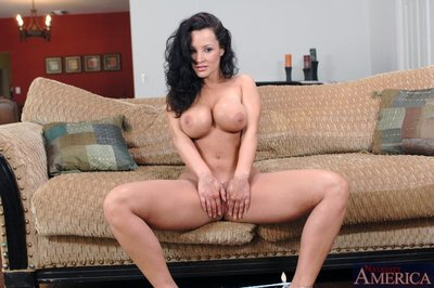 Shapely wife Lisa Ann strips off lace lingerie and shows superb tits