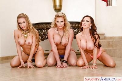 MILF pornstars Nicole Aniston, Nikki Benz and Phoenix Marie vanish girl on girl