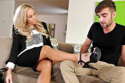 Foot fetish sex- with Olivia Austin- giving a blowjob and a footjob