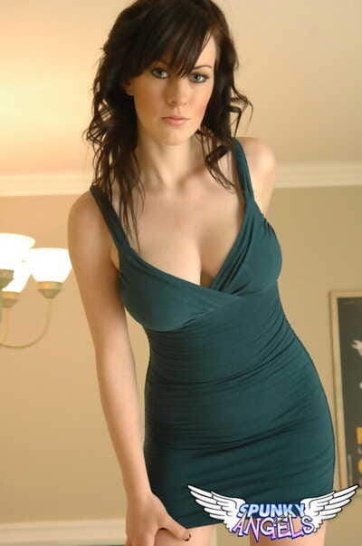 Stunning young Tiffany drops rigid dress to expose big bumpers & perfect damp ass