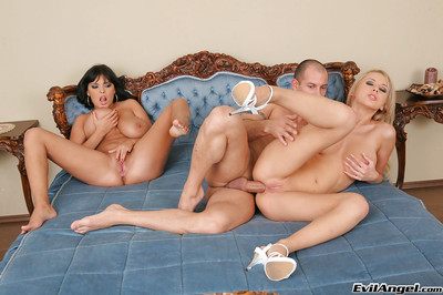 Enthralling giant busted gals are into groupsex with a fortunate guy