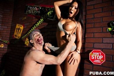 Japanese beauty asa akira attacked by a zombie