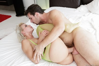 Annika albrite getting penetrated in unconventional yellow fishnets