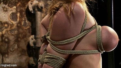Miniscule blonde with big tits submits to extreme rope conformation