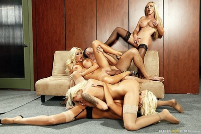 Vast tits orgy in the office with raunchy blondes