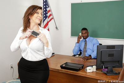 Business woman sucks and fucks black phallus in office
