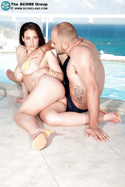 Busty brunette babe in tiny bikini angela white gets dug by t