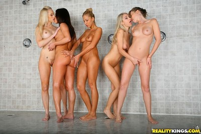 Hawt girl alyssa reece participating in the cruel lesbian group fuck with her ni