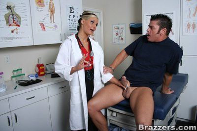 Lustful doctor in glasses Phoenix Marie strips to ride a immense boner