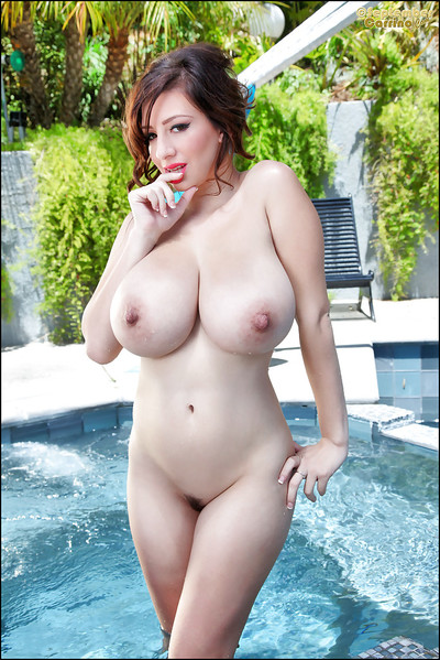 Wet a-hole of an big tits dark hair September Carrino shown at the pool