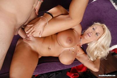 Breasty blond stepmom holly halston smoking her stepsons huge schlong