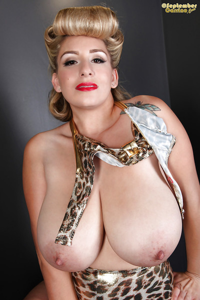 Big-tit blonde September Carrino is playing with her excellent nipples