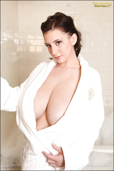 Hawt dear with extraordinaryly immense scoops September Carrino having liking in the bath