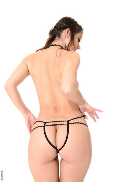 Hottie melisa mendiny takes off her sheer black underware