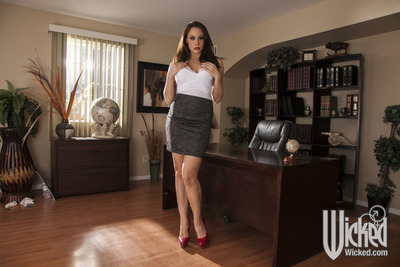Gorgeous office gal Chanel Preston stripping off her