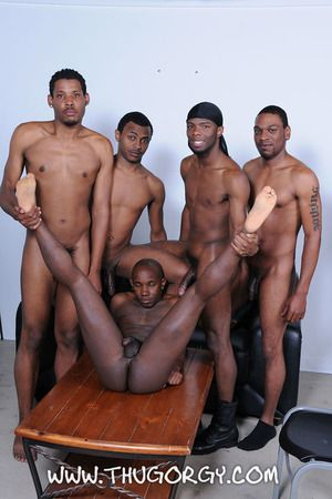 The thugz are done sucking around and they are ready about get those big thug cocks ramming into some tight ass. The new guys are spit roasted between our thug regulars and their asses are brute slapped so as they keep sucking and seductive that cock. Loo