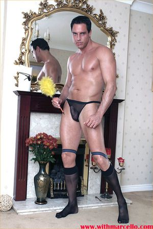 Marcello the hunk does his house cleaning in get the drift of briefs and socks