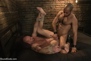 Leo Forte brings Mitch Vaughn to his dungeon for a hard bondage fucking