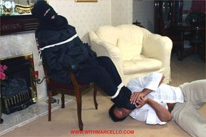 Masked fan can t wait to get tied up together with take a load from Marcello s cock