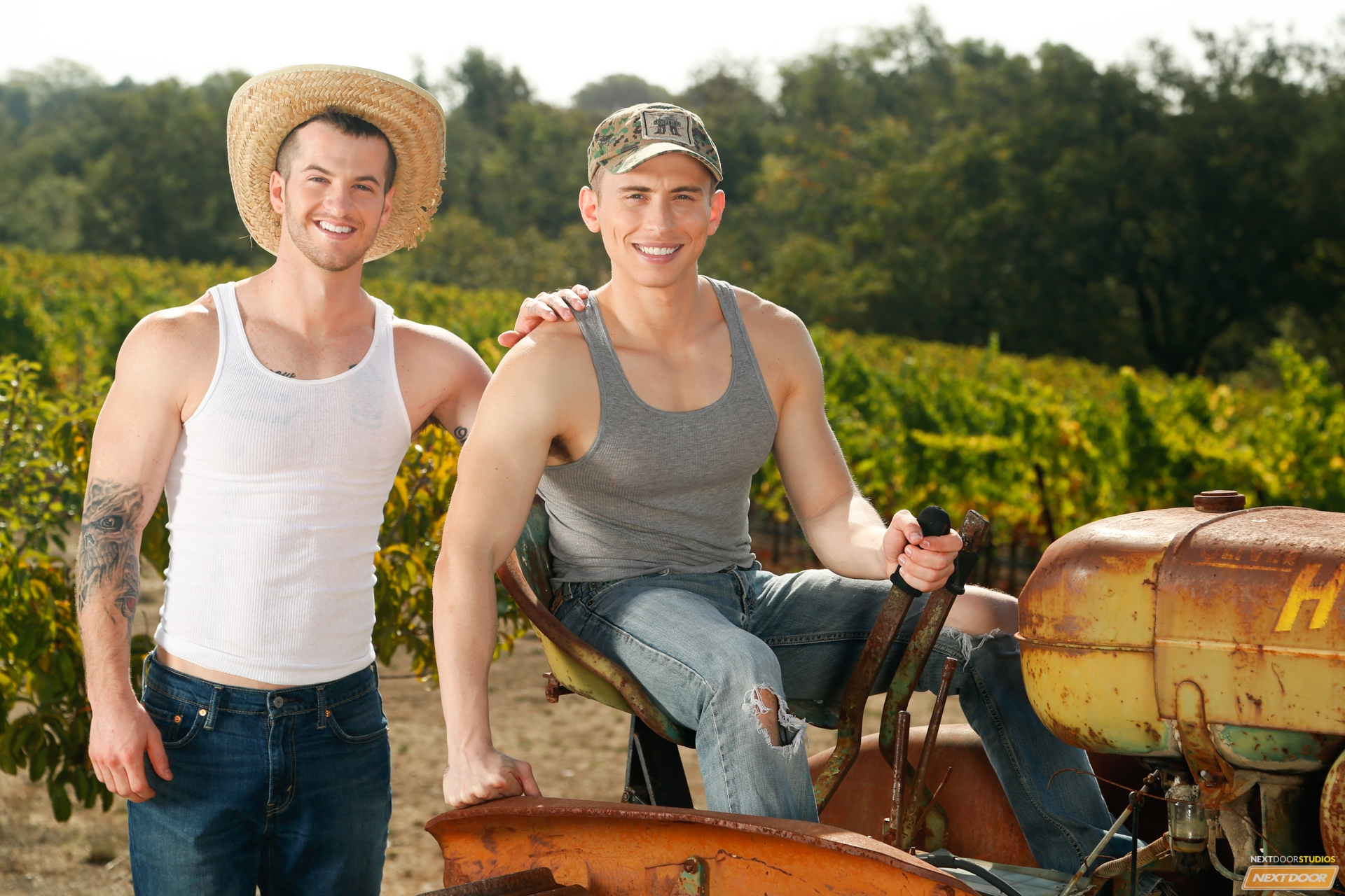In a beeline Quentin Gainz's tractor breaks down on the farm, Dante Martin, who's inviting a tour of the property, happens upon him.  Dante LIKES what he sees!  He especially likes Quentin's nice, plump ass and strong physique.  Dante decides to see even