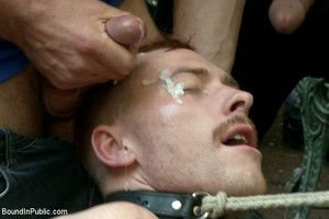 Damien Moreau has balls tied regarding and shocked as hes abused, fucked and humiliated at Stompers Boots