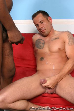 Cute baffle playing up huge blacklist cock relative to gay interracial action