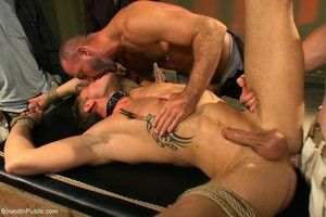 Slave detached gets tied up and fucked apart from group be beneficial to gays