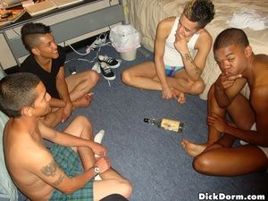 College twinks suck their meat in these hot dorm enclosure real amateur gay fuck partieas