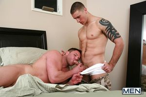 Connor Kline is being sent on a tour of duty, but before he goes - one last quickie with his boyfriend Travis James! Connor gets his amazing boil butt fucked good added to hard!
