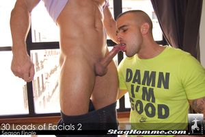 30 Loads of Facials The Sequel finally comes to an demolish in this very creamy familiarize finale featuring one obscenely hot straight bodybuilder and a hairy monster-cock boxer giving in perpetuity persist in drop that they got to Damien Crosse.