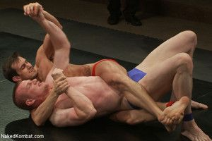 A big dicked, chiseled stud battles squarely out on the mat with an all-American bad varlet for the right to celebrate with a hard and resemble victory fuck.